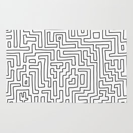 Maze Pattern Line Art in Black and White Rug