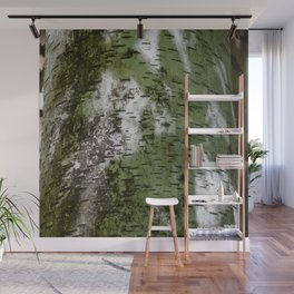 Birch Bark Pattern Green and White Wood Pattern Bring the Outdoors In Wall Mural