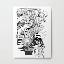 Bear- black and white - illustration Metal Print