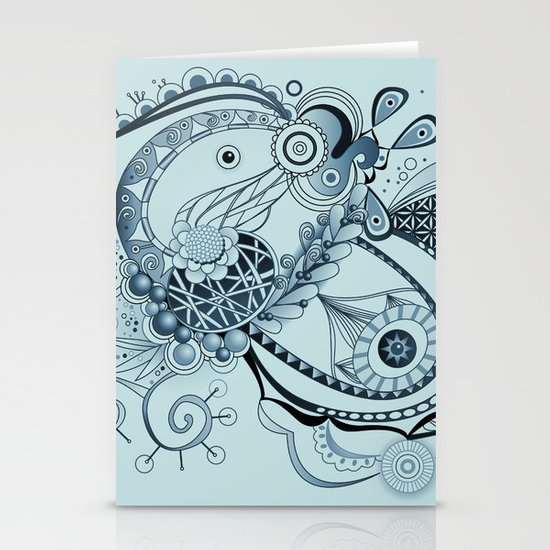 Spring tangle, colony blue Stationery Cards