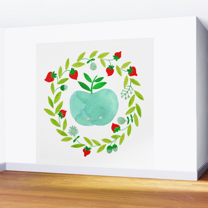 mint apple with wreath and strawberries watercolor Wall Mural