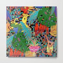 Tropical Bohemian Cats Metal Print