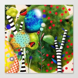 That´s how its got to be - Rupydetequila 2018 - Cactus nopal green and red polka dots Canvas Print