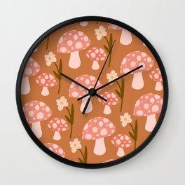 Magic Mushroom Forest | Terra Cotta, Pink, Floral Wall Clock