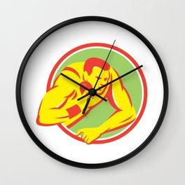 Shot Put Track and Field Athlete Retro Wall Clock