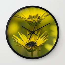Yellow flowers in the garden Wall Clock