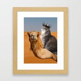 Cat Riding Camel Framed Art Print