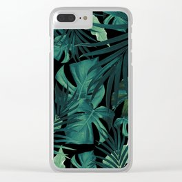 Tropical Jungle Night Leaves Pattern #1 #tropical #decor #art #society6 Clear iPhone Case