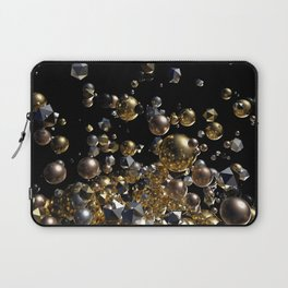 Elegant Abstract Geometry Explosion -Gold and Silver,Black- Laptop Sleeve