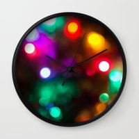 lights Wall Clocks featuring Lights by Michelle McConnell