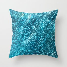 In The Midst of Blue Rain Bubbles Throw Pillow