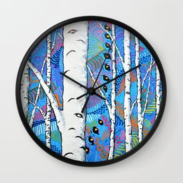 Sunset Sherbert Birch Forest by Mike Kraus - aspen trees forest woods nature surreal trippy colors Wall Clock