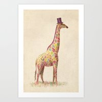 giraffe Art Prints featuring Fashionable Giraffe by Terry Fan