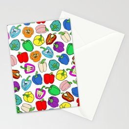 Rainbow Bell Peppers Paprika Stationery Cards