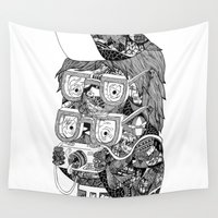 hipster Wall Tapestries featuring hipster by Jess John