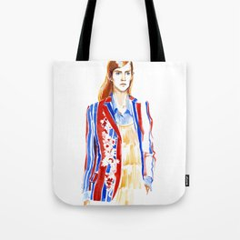 fashion #2. Girl in a striped jacket with embroidery Tote Bag