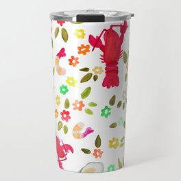 Seafood Spread with Flowers Travel Mug