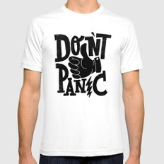 don't panic Mens Fitted Tee White SMALL