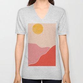 Desert Sunset and Mars Mountains Unisex V-Neck