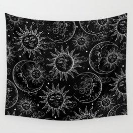 Black Magic Celestial Sun Moon Stars Wall Tapestry