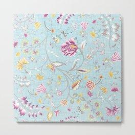 Breezy Blooms - Botanical Chintz on Sky Blue Linen Metal Print
