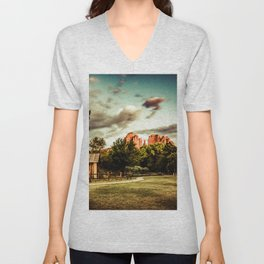 Southwest Chimney Rock Vortex Sedona Arizona Unisex V-Neck