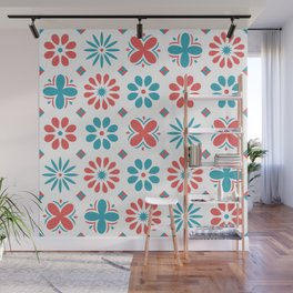 Geometric Abstract Flower Pattern Wall Mural