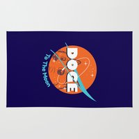 nasa Area & Throw Rugs featuring Doge Nasa Variant (To The Moon!) by Tabner's