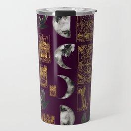 Beautiful Pagan Themed Print - Tarot Cards, Moon Cycles and Ravens Travel Mug