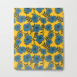 Blue Flowers with Banana Leaves with Yellow Metal Print