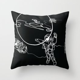 Astronaut in spacesuit, planet, spacecraft, car, cabriolet in space Throw Pillow