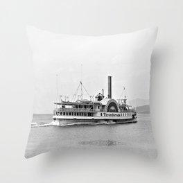 Ticonderoga Side Wheeler Steamboat Throw Pillow