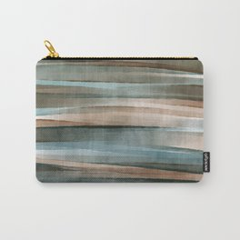 Soft Teal green & roasted brown _earth green waves_ abstract watercolor  Carry-All Pouch