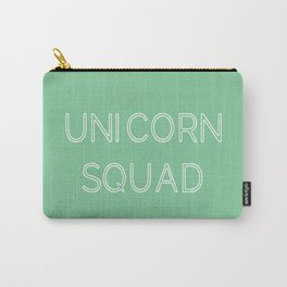 Unicorn Squad - Mint Green and White Carry-All Pouch