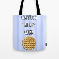 parks and recreation Tote Bags featuring Parks and Recreation - Waffles, Friends, Work by Sarah and Bree