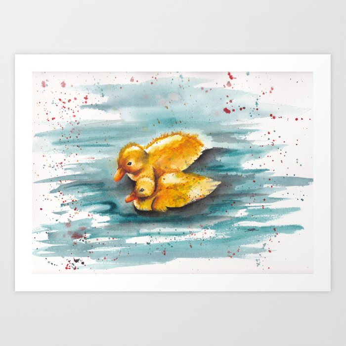 Yellow Baby Duck Watercolor Painting Art Print By Samiamart Society6