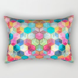 Crystal Bohemian Honeycomb Cubes - colorful hexagon pattern Rectangular Pillow