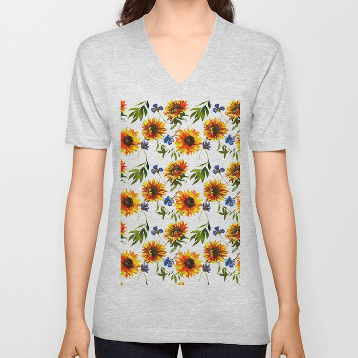 Hand painted yellow orange blue watercolor sunflower pattern Unisex V-Neck