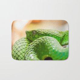 Coiled green snake Bath Mat