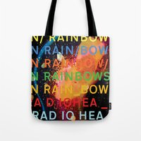 radiohead Tote Bags featuring Radiohead - In Rainbows by NICEALB