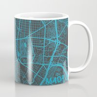 madrid Mugs featuring Madrid by Map Map Maps