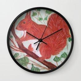 Red squirel on a hazel tree branch Wall Clock