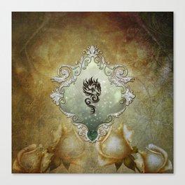 Wonderful tribal dragon on vintage background Canvas Print