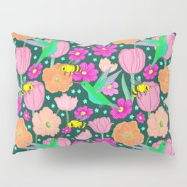 Hummingbirds and Bees Spring Pollinator Floral Pillow Sham