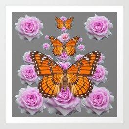 MONARCH BUTTERFLIES PINK ROSE GARDEN GREY ART Art Print