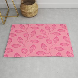Climbing Leaves In Rose Pink On Blossom Pink Rug