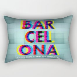 Barcelona Glitch Psychedelic Rectangular Pillow