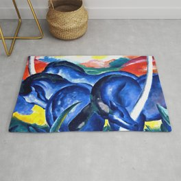 Franz Marc - The Large Blue Horses (Die grossen blauen Pferde) 1911 Artwork Reproduction for Wall Art, Prints, Tshirts, Men, Women, Kids Rug