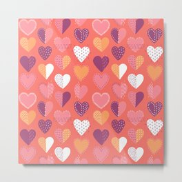 Living Coral Patch Boro Embroidery Hearts Metal Print
