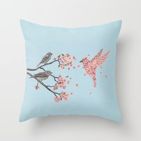 blossom Throw Pillows featuring Blossom Bird  by Terry Fan